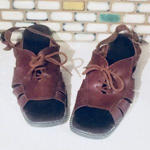 Vintage Brown Leather Huarache Sandals 8